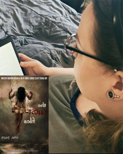 Sarah Stapleford reading 通过apryl面包鬼文件 on a tablet